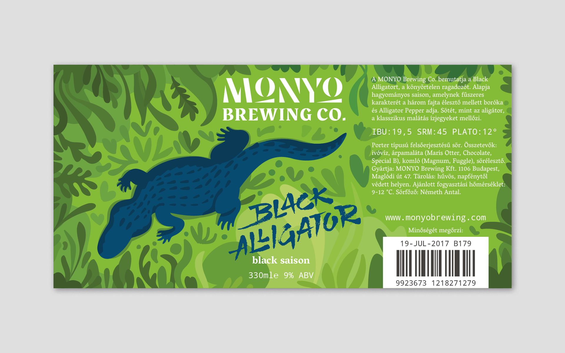 MONYO craft beer packaging \ Black Alligator label design