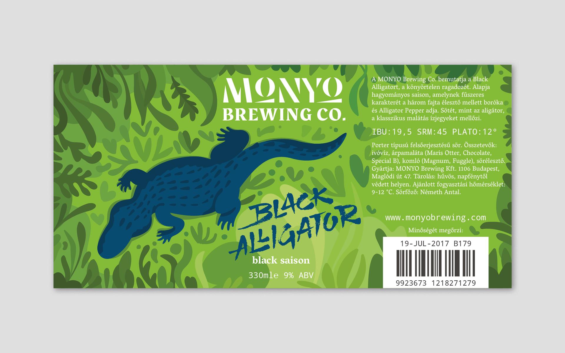 MONYO craft beer packaging \ Black Alligator label design