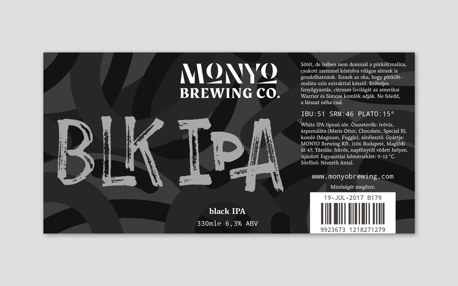 MONYO craft beer packaging \ Black IPA label design