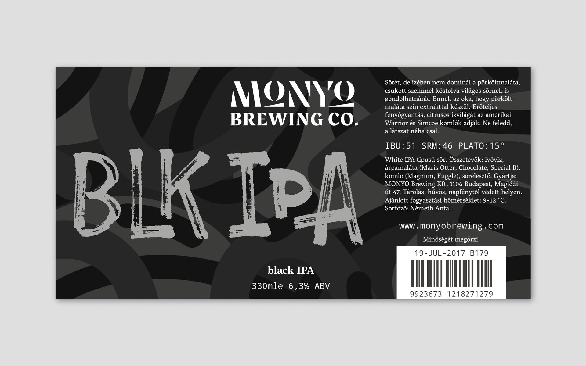 MONYO craft beer packaging \ Black IPA label design