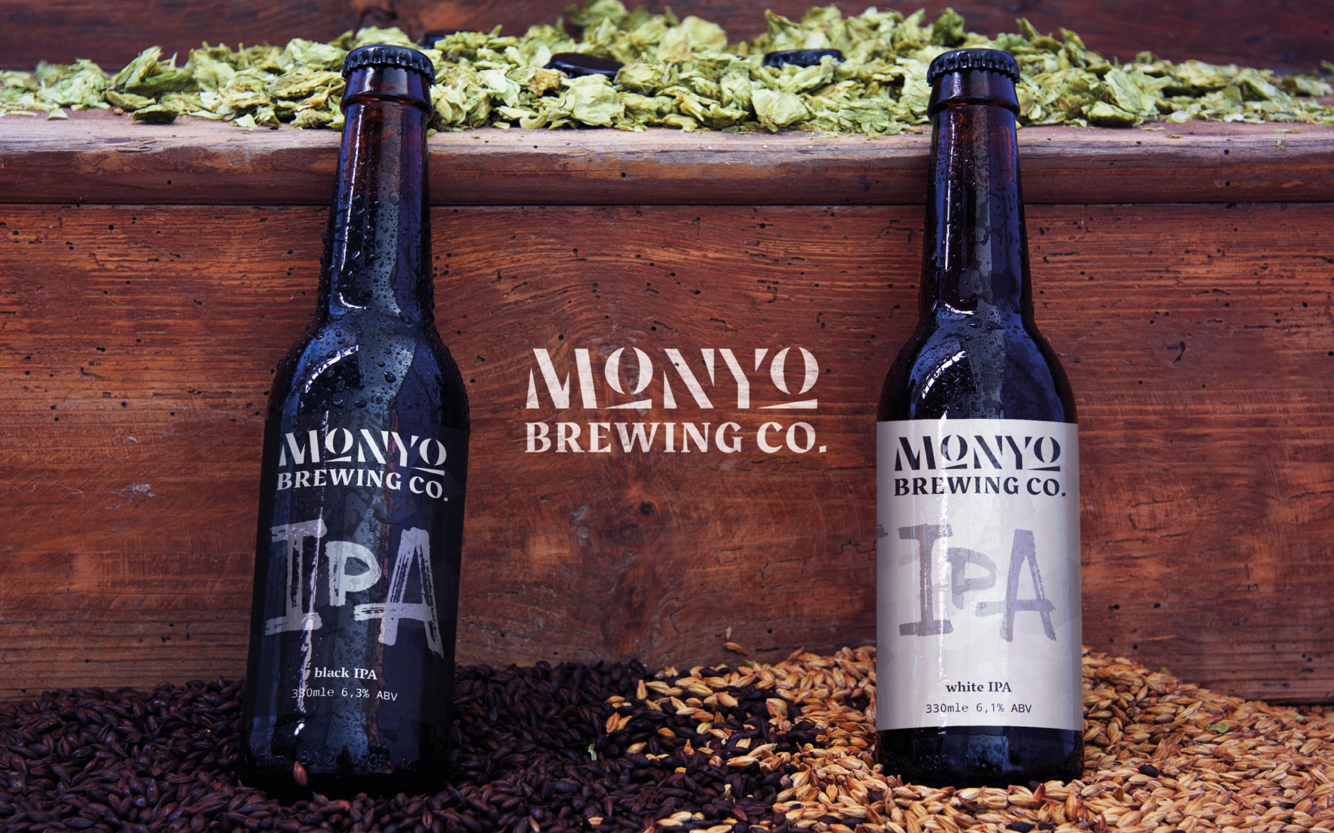 MONYO craft beer packaging \ Black IPA nad White IPA