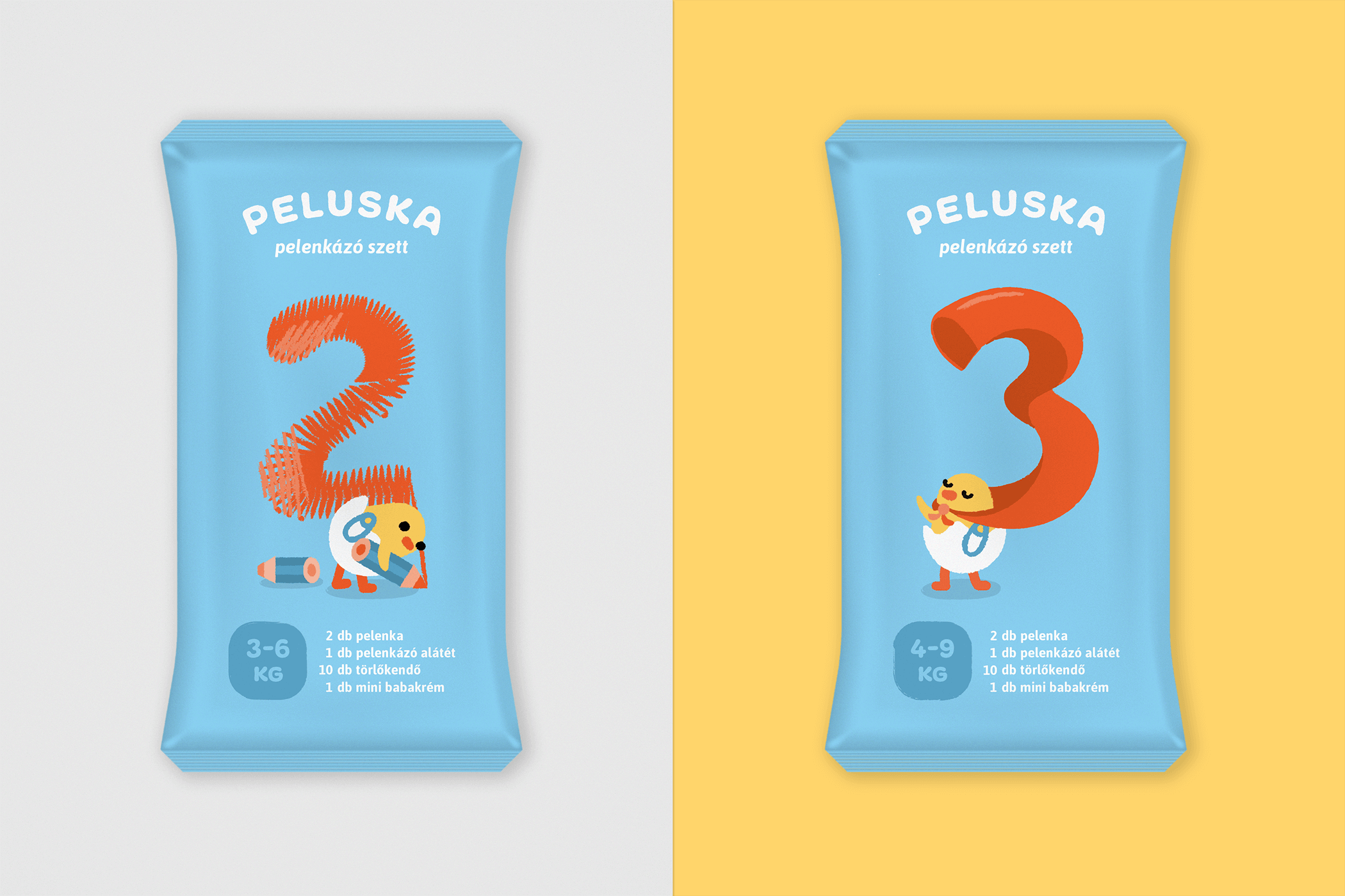 Diaper packaging for 2 and 3
