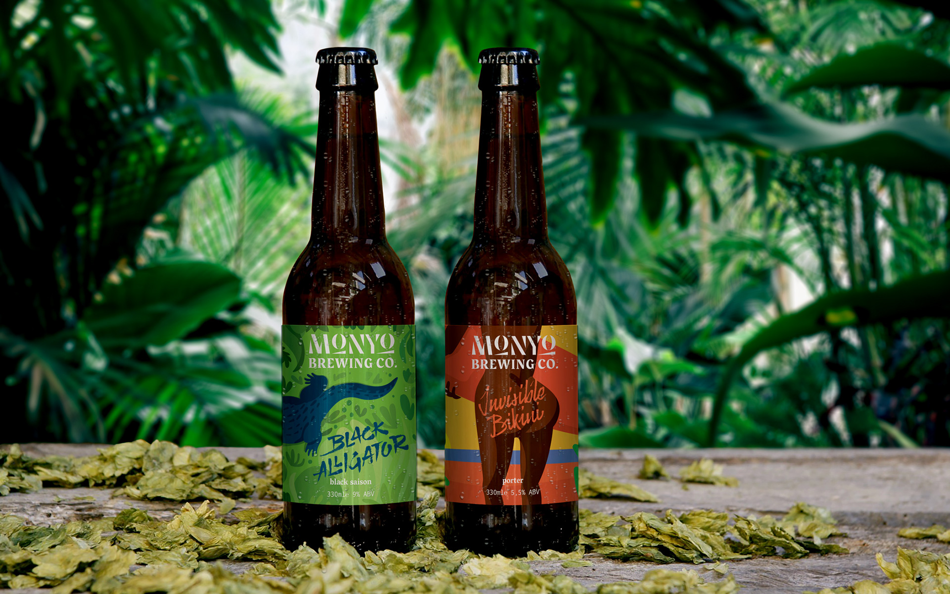 MONYO craft beer packaging \ Black Alligator and Invisible Bikini