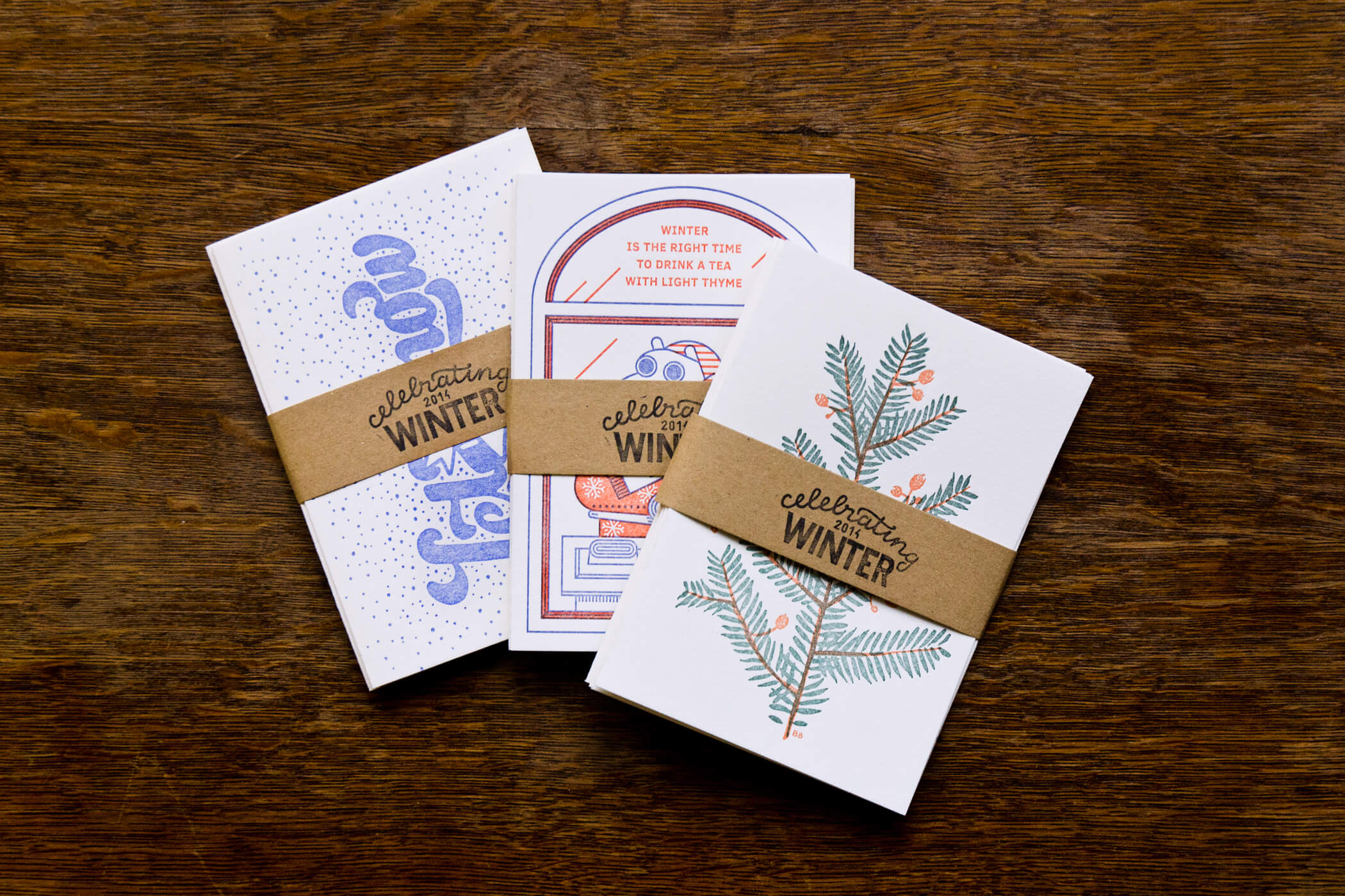 Letterpress winter postcard