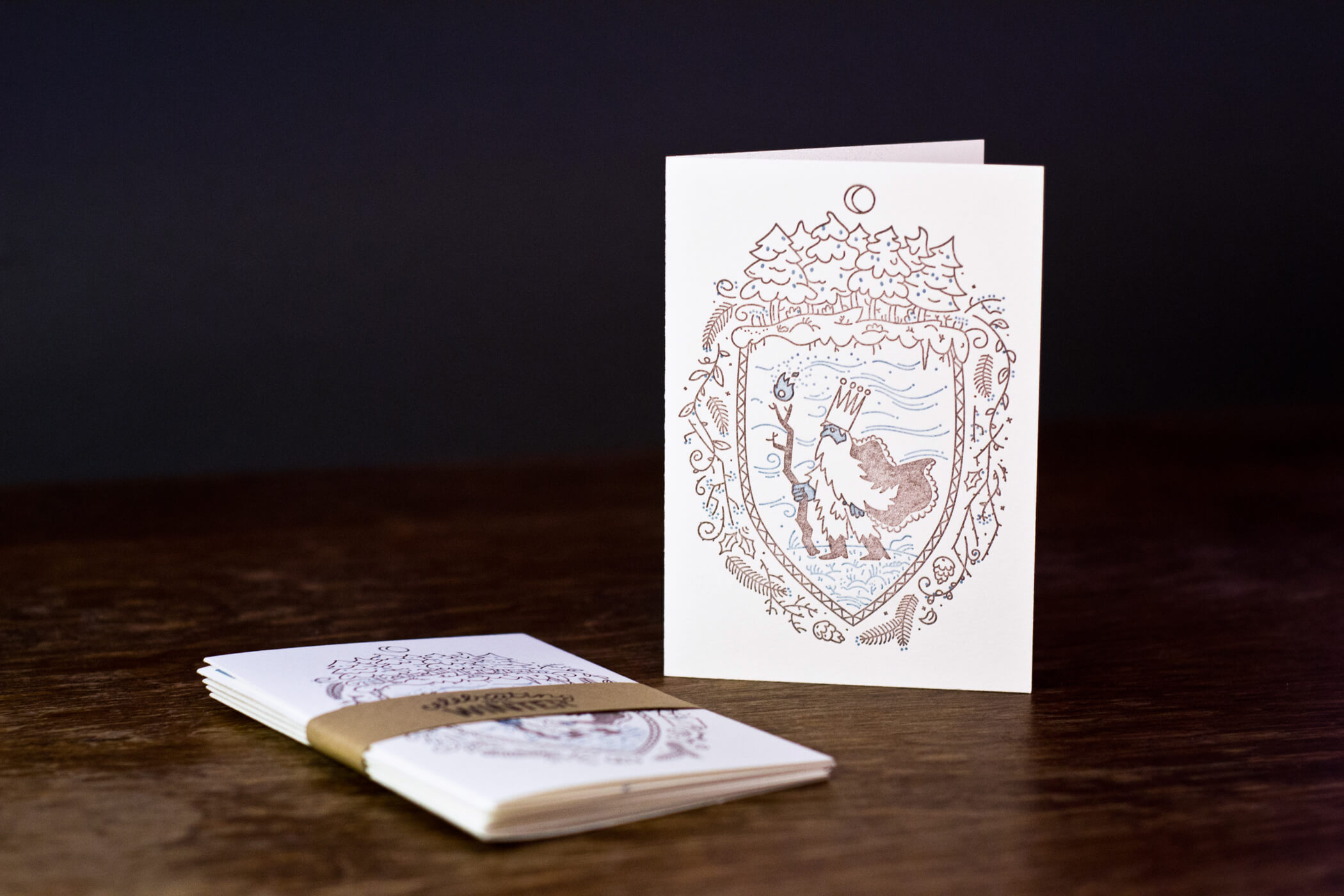 Letterpress postcard - winter king