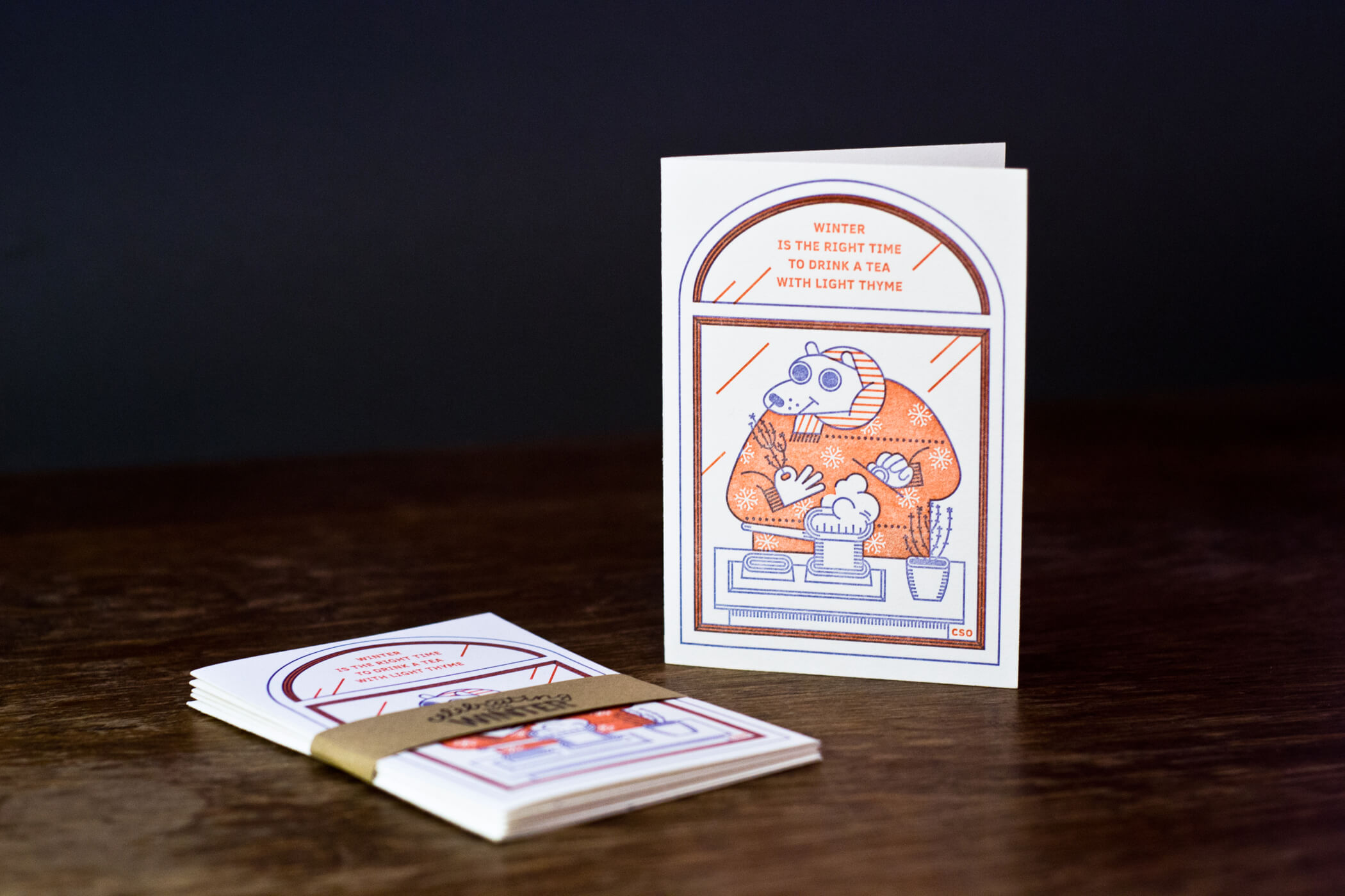 Letterpress postcard - tea making bear