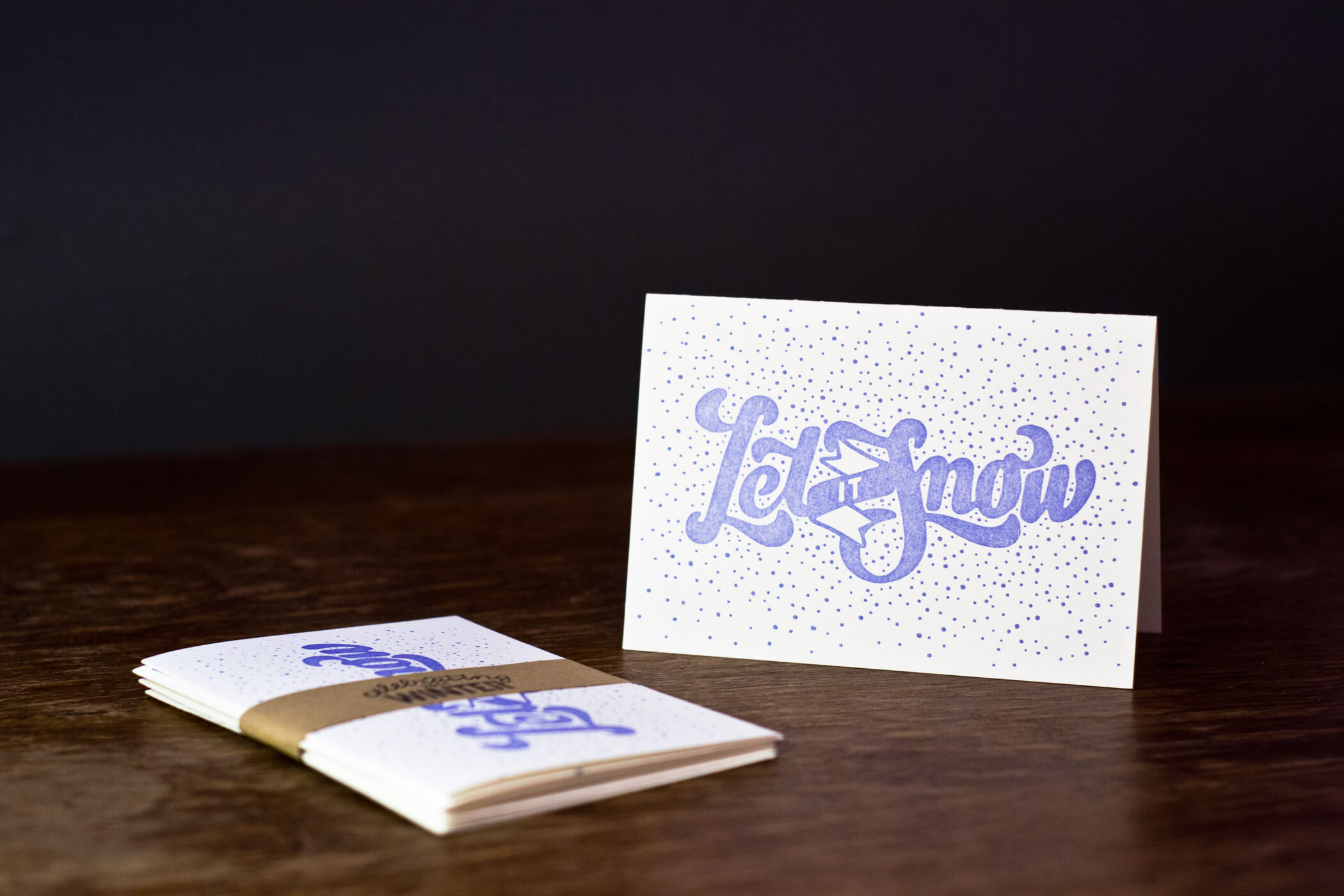Letterpress postcard - let it snow lettering
