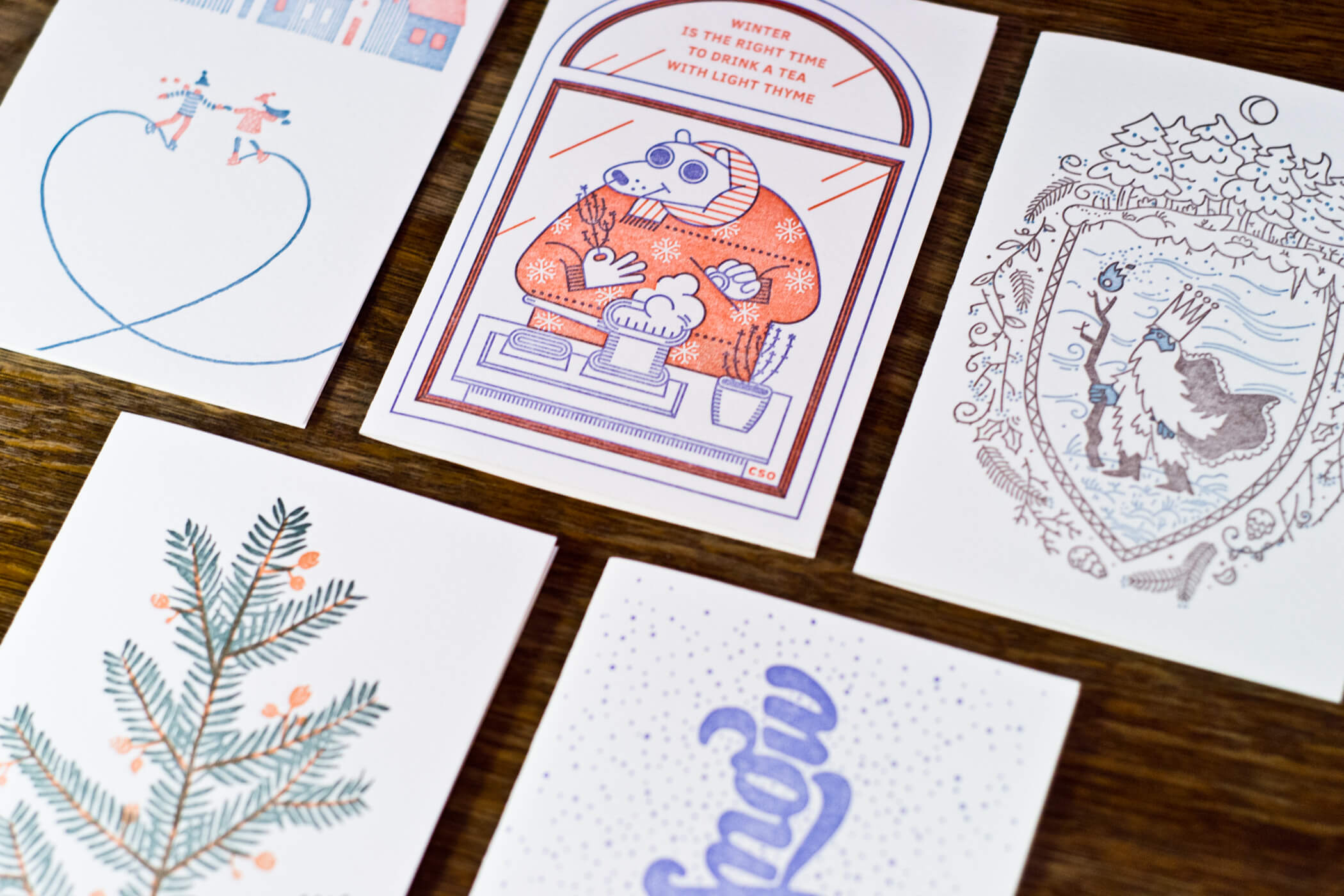 Letterpress postcard series