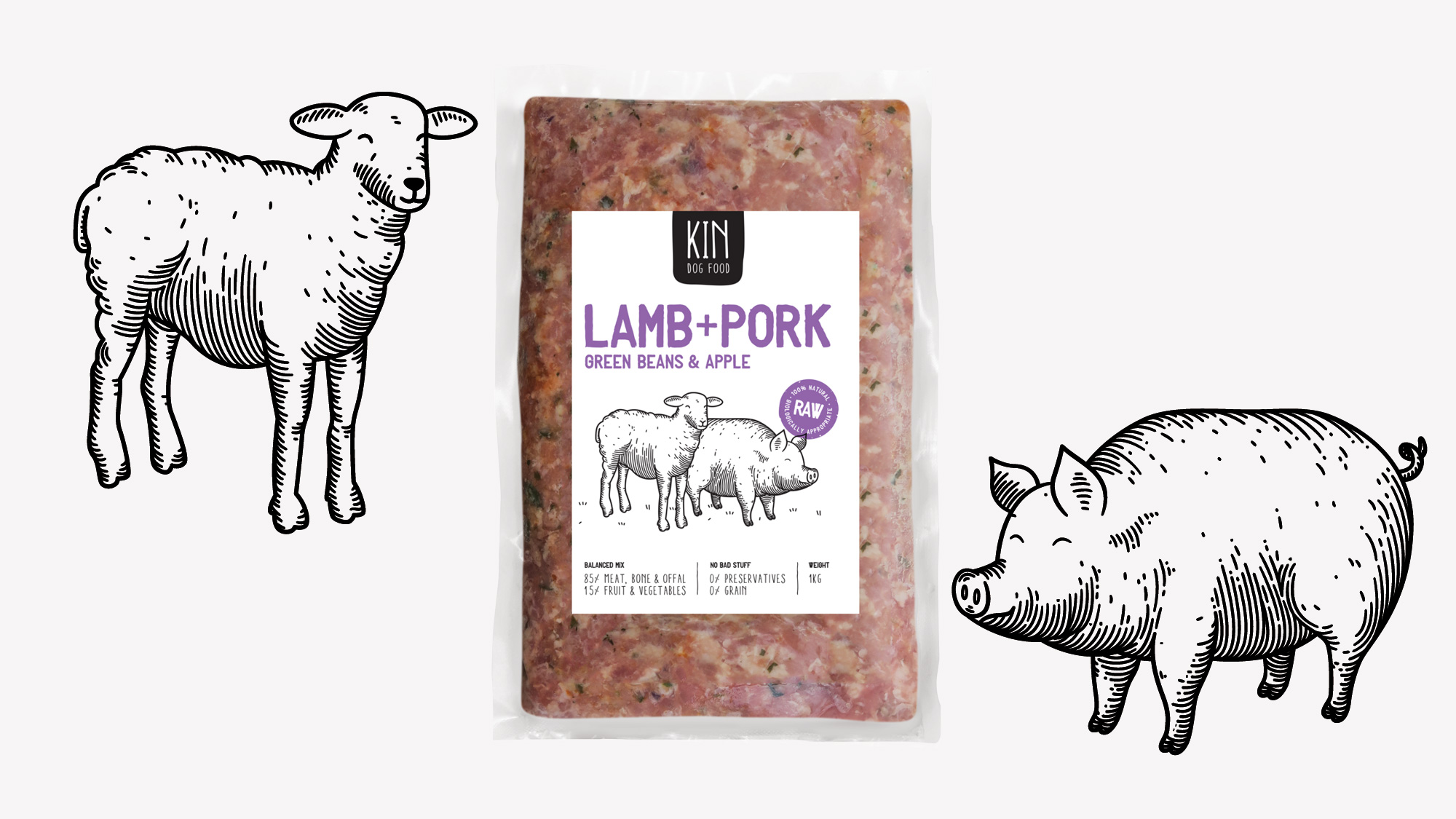 Dog food packaging - Sheep and pig