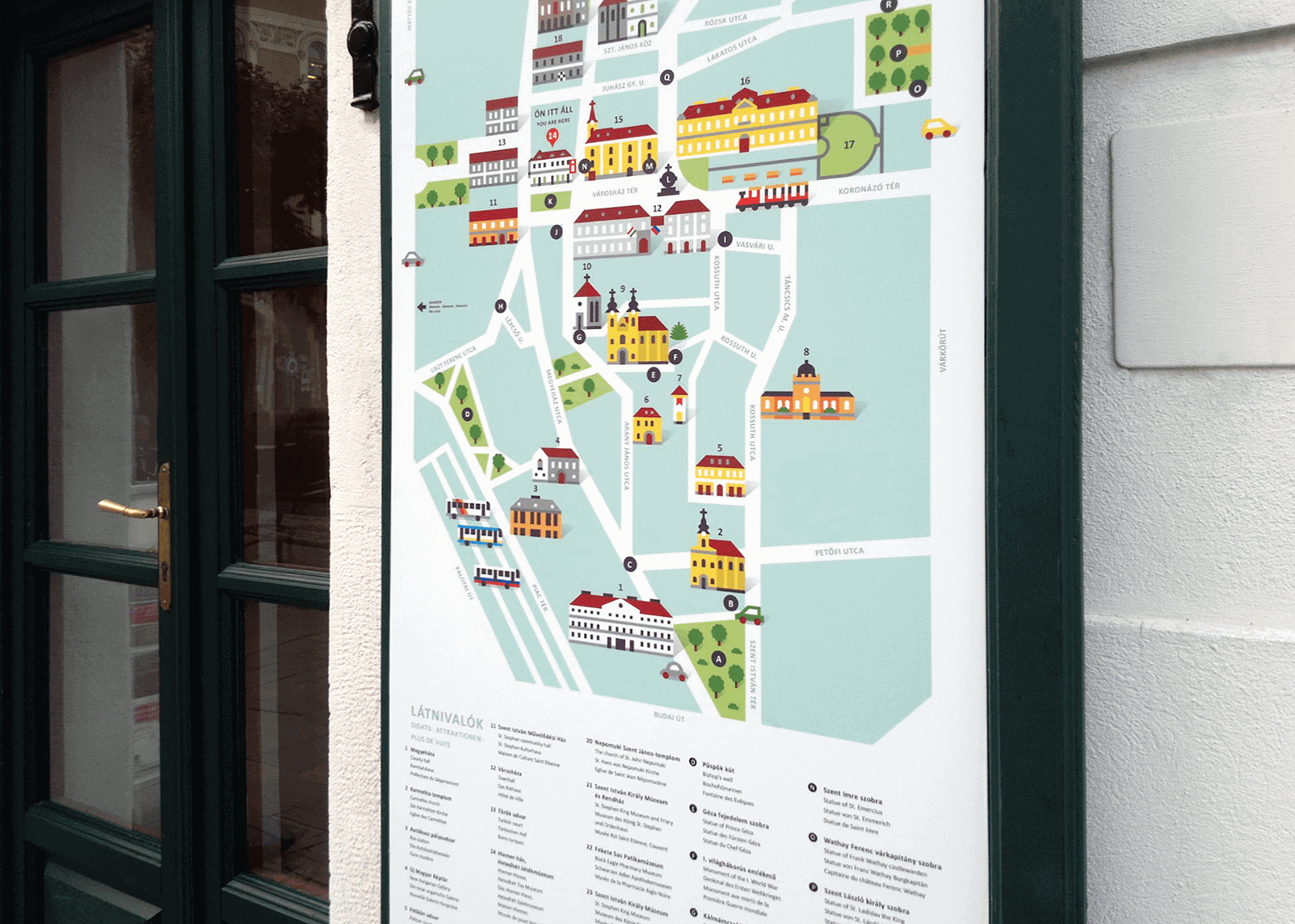 Illustrated city guide map poster