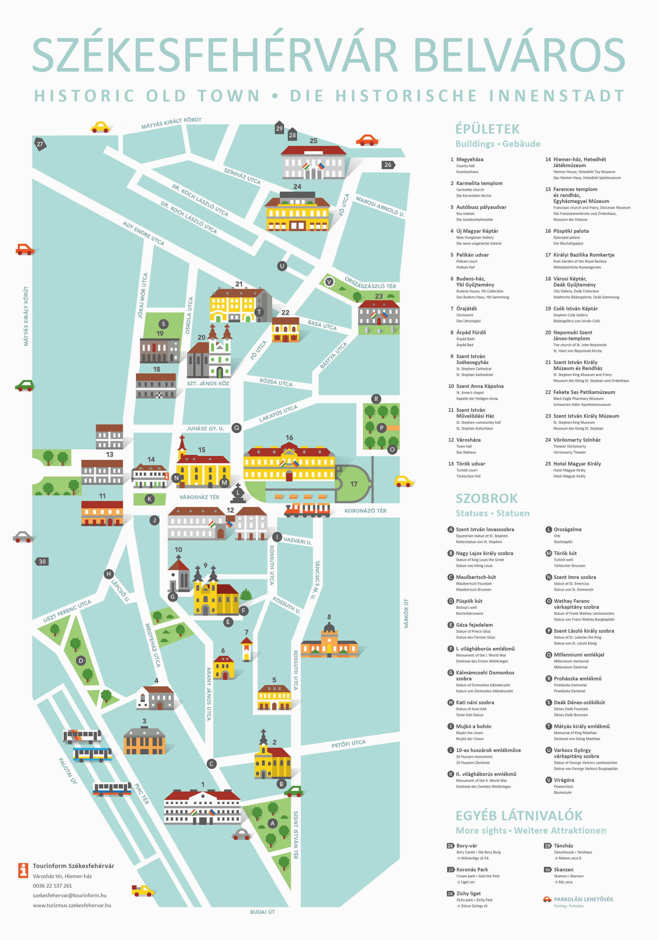 Illustrated city guide poster