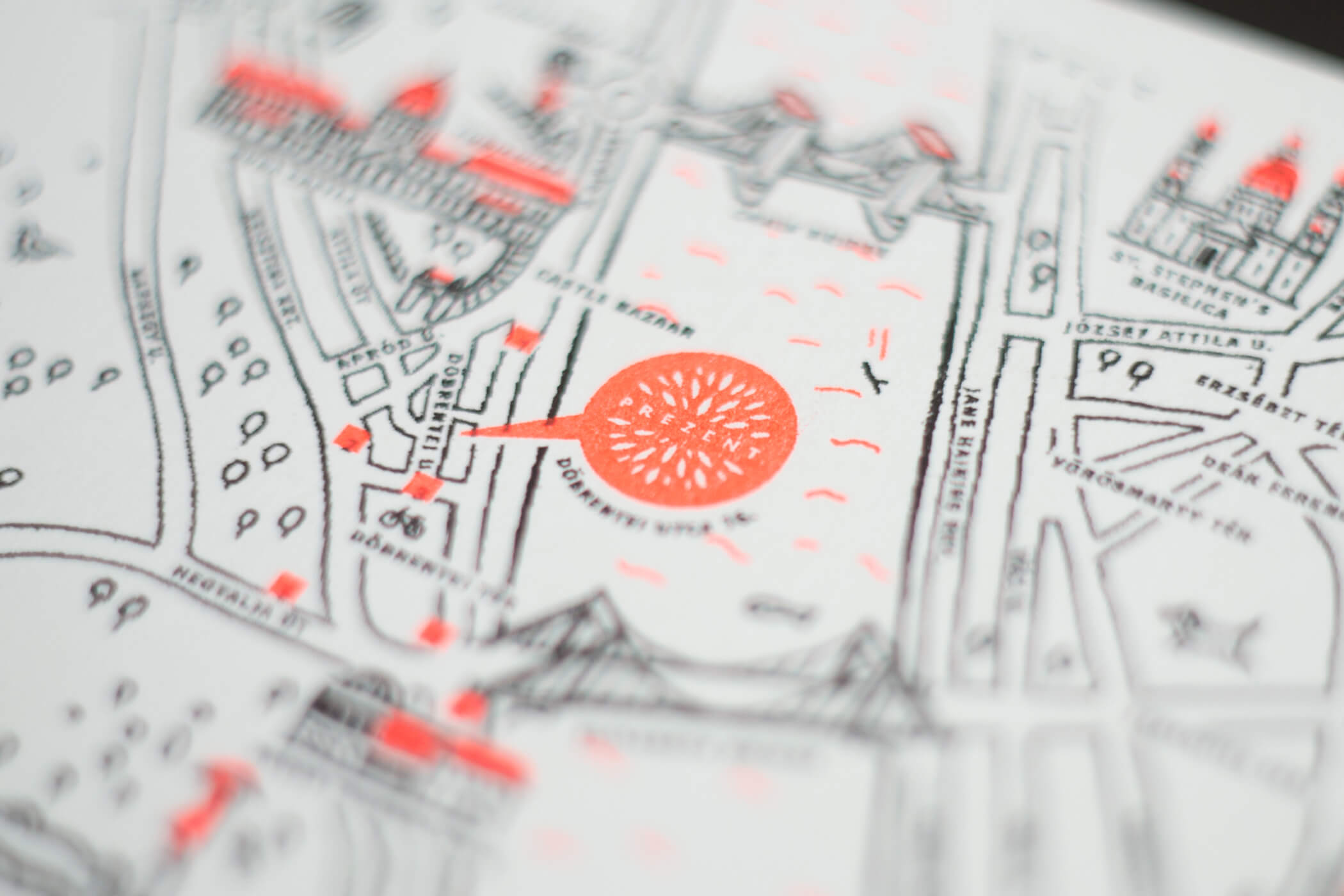 Prezent \ Gift shop illustrated tourist map